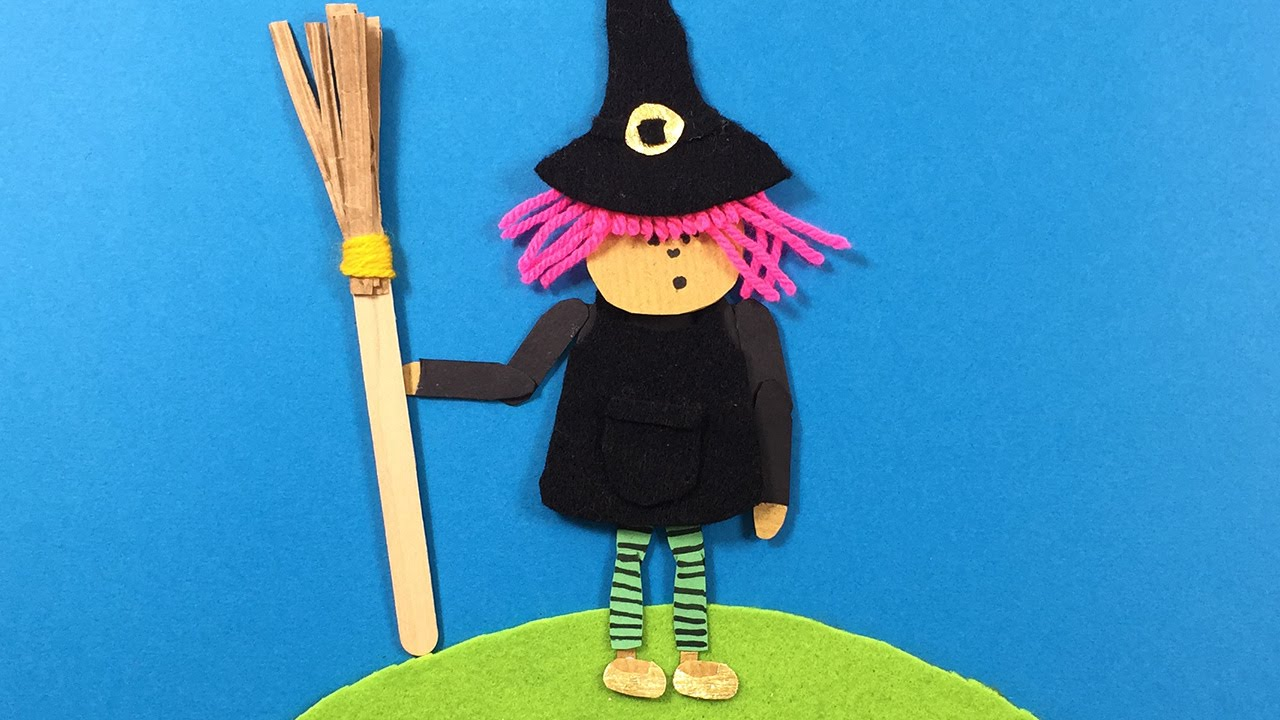 Wool Craft Ideas For Kids Part - 36: A Young Witch Made From Felt, Paper, Wool - Simple Craft Ideas For Kids -  YouTube