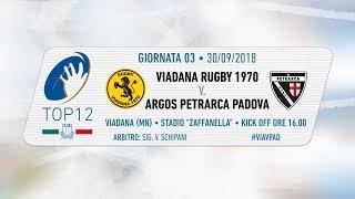 TOP12 2018/19, Giornata 3 - Viadana Rugby 1970  v Argos Petrarca Padova
