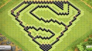EPIC TOWN HALL 9 (TH9) Farming Base (SUPERMAN Design) - 4TH Mortar - Clash Of Clans