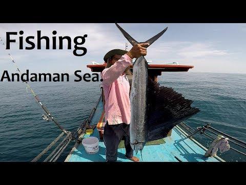 ตกปลาทะเลอันดามัน#5 ปลาใบ ปลาอินทรีย์ ปลากระมง Fishing & hand line fishing @Andaman Sea