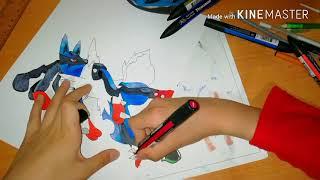Como dibujar a mega lucario - - how to draw mega lucario