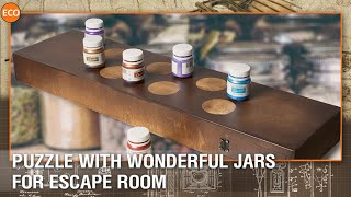 Puzzle with wonderful jars for escape room