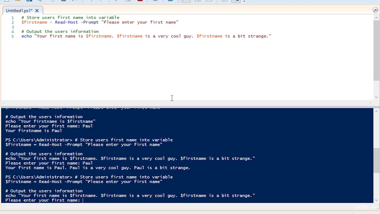 35 Storing user input into variables with PowerShell Windows Server 2016