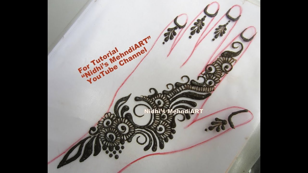 Mehndi Designs Tutorial : Cute simplest henna mehndi design step by tutorial