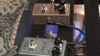 Plum Crazy FX Fuzzy Lady vs Si Clops guitar effects pedal demo w SG & Dr Z amp