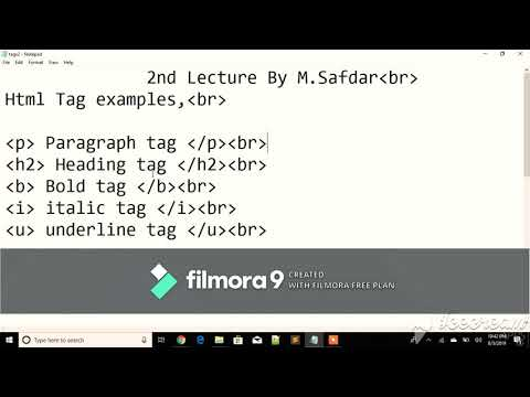 HTML Tags And Uses Of tags 2nd Tutorial By Muhammad Safdar  2019 thumbnail