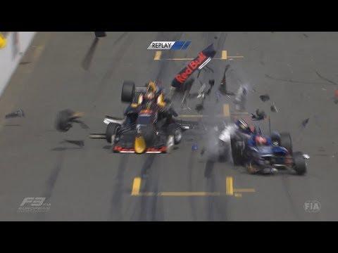 FIA Formula 3 European Championship 2018. Race 2 Norisring. Start Big Crash Red Flag