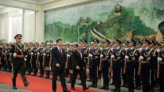 لحظة وصول الرئيس السيسى لقصر الشعب بالعاصمة الصينية بيكين وعزف السلام الوطنى