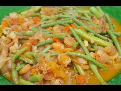 Paano magluto Hipon at Sitaw Recipe - Filipino Food - Shrimps & Long Beans - Tagalog Pinoy cooking