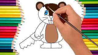How to draw beaver with a saw - coloring pages for kids