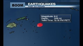 Magnitude 8.2 quake strikes in the Pacific, no damage expected -USG...