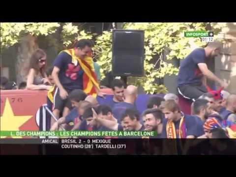 Le Barça fête son triplé avec les supporters
