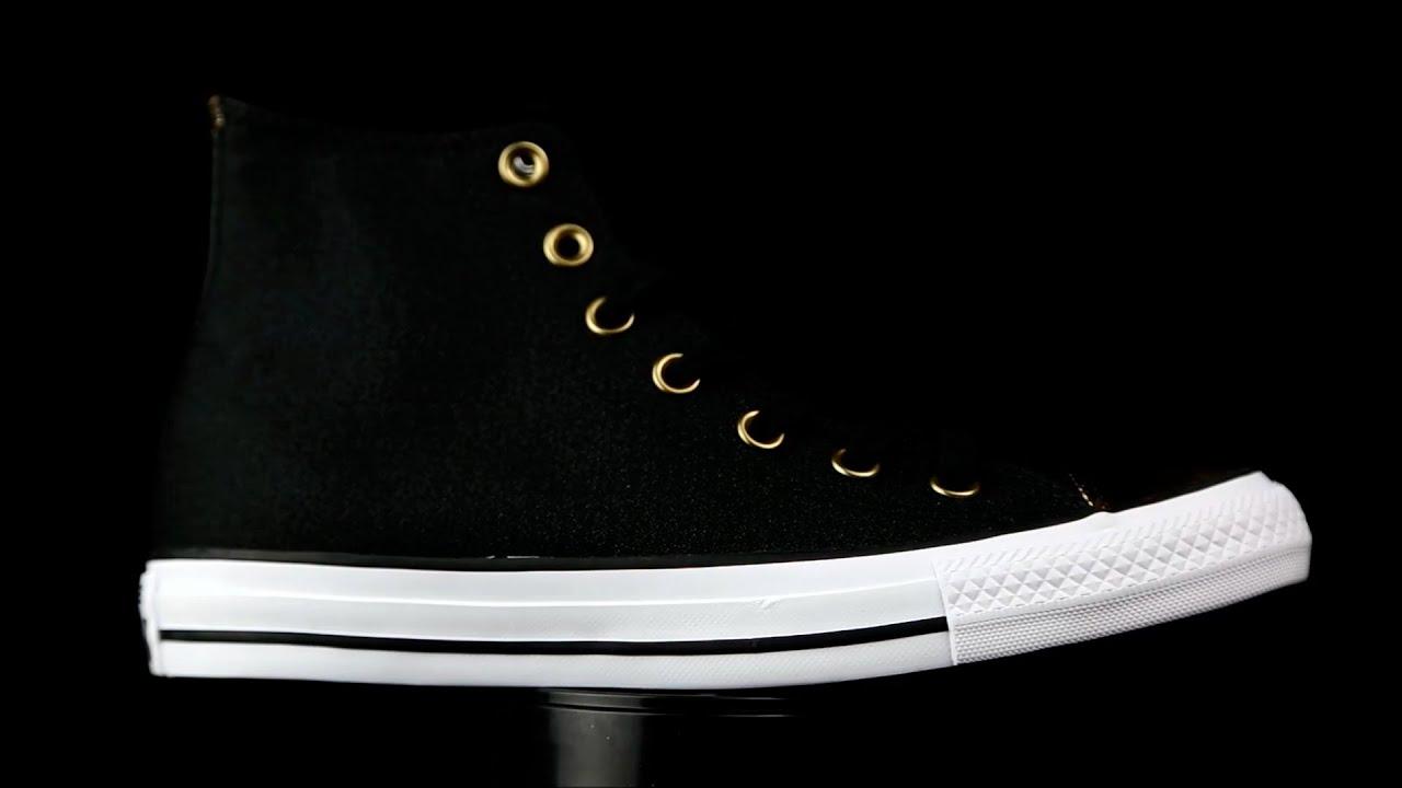 Ciudadanía Apelar a ser atractivo lantano  Converse All Star Chuck Tayllor negro-dorado. - YouTube