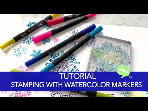 TUTORIAL  - stamping with watercolor markers - tips and tricks thumbnail