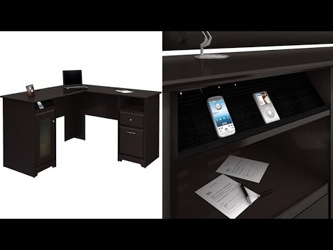 Bush Furniture Harvest Espresso OakCabot Collection 60 Inch L Desk With  Smart Technology Integration