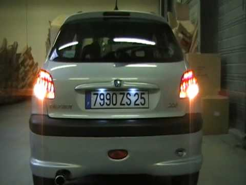 demonstration feux arriere a led peugeot 206 youtube