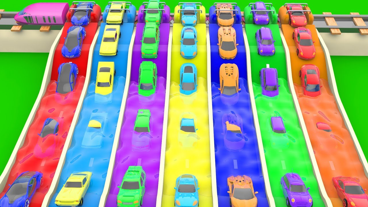 colours learning colors for children with super sports cars coloring slides tracks [ 1280 x 720 Pixel ]