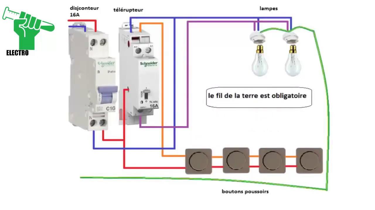 Schema Electrique Du Telerupteur Unipolaire Schneider Youtube