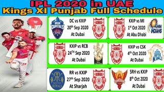 Dream 11 IPL 2020 Kings XI Punjab Full Schedule