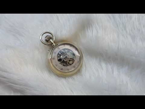 Vintage skeleton pocket watch chronograph with two dials