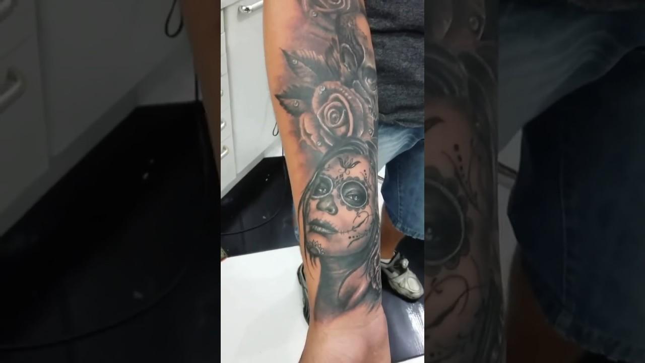 Tattoo Catrina Mexicana Sombreada