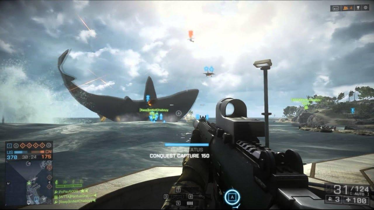 Battlefield 4: Megalodon Giant Shark Easter Egg Montage !! - YouTube