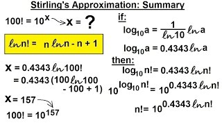 Physics 32.5 Statistical Thermodynamics (8 Of 39) Stirling's Approximation: Summery