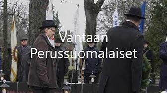 Vantaan Perussuomalaiset perinteisesti seppeleen laskussa Pyhän Laurin kirkon sankarihaudoilla.