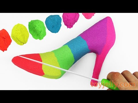Thumbnail: Kinetic Sand Shoe DIY How to make Rainbow High Heels Kinetic Foam Surprise Eggs Finger Family Song