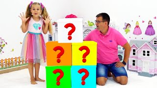Diana with Dad leąrn how to have fun and play different games inside