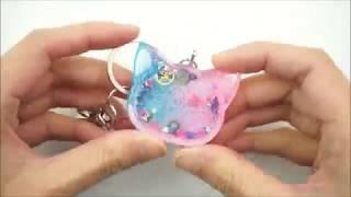 Epoxy resin cat shaker keyring