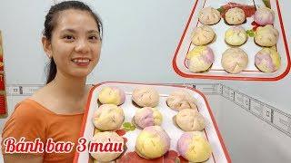 Cách làm bánh bao 3 màu nhân sữa trứng xốp ngon đẹp mắt