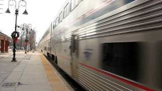 This is NOT a Metra! Stand back! Fast Amtrak train in Downers Grove,IL