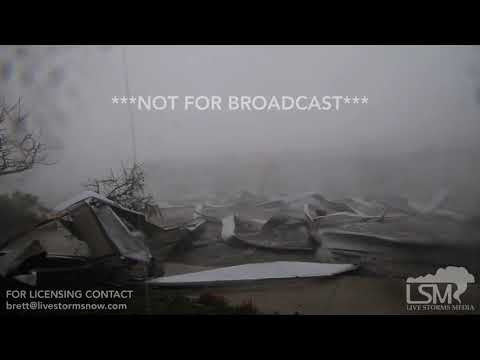 10-10-18 - Tyndall Air Force Base - ROOF FLIES OFF BUILDING OVER STORM CHASER IN EYEWALL OF HURRICAN