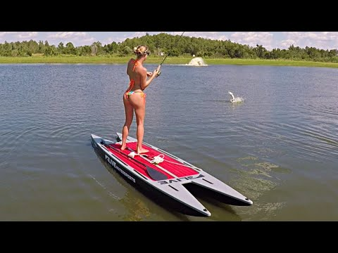 Bikini FISHING!! - Paddleboard Fishing For Exotic Barramundi Fish