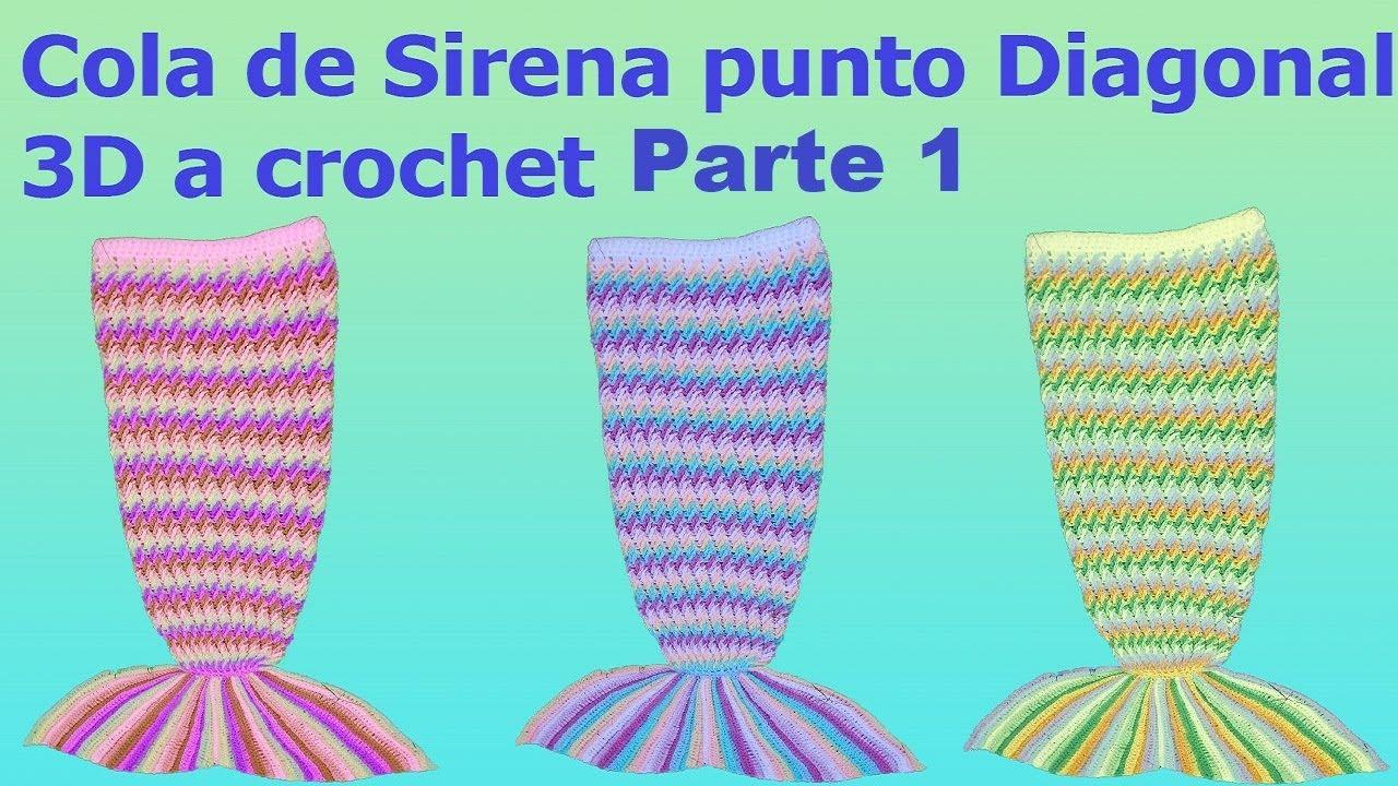 Cola de sirena a crochet o ganchillo - punto diagonal a crochet ...