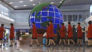北朝鮮代表、日本へ出発 女子サッカー五輪予選