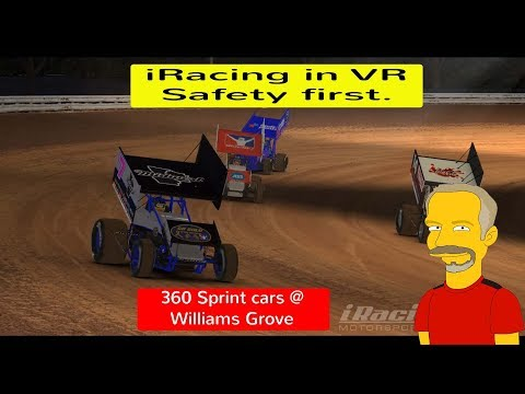 iRacing in VR - Safety First! 360 Sprint cars at Williams Grove Speedway.