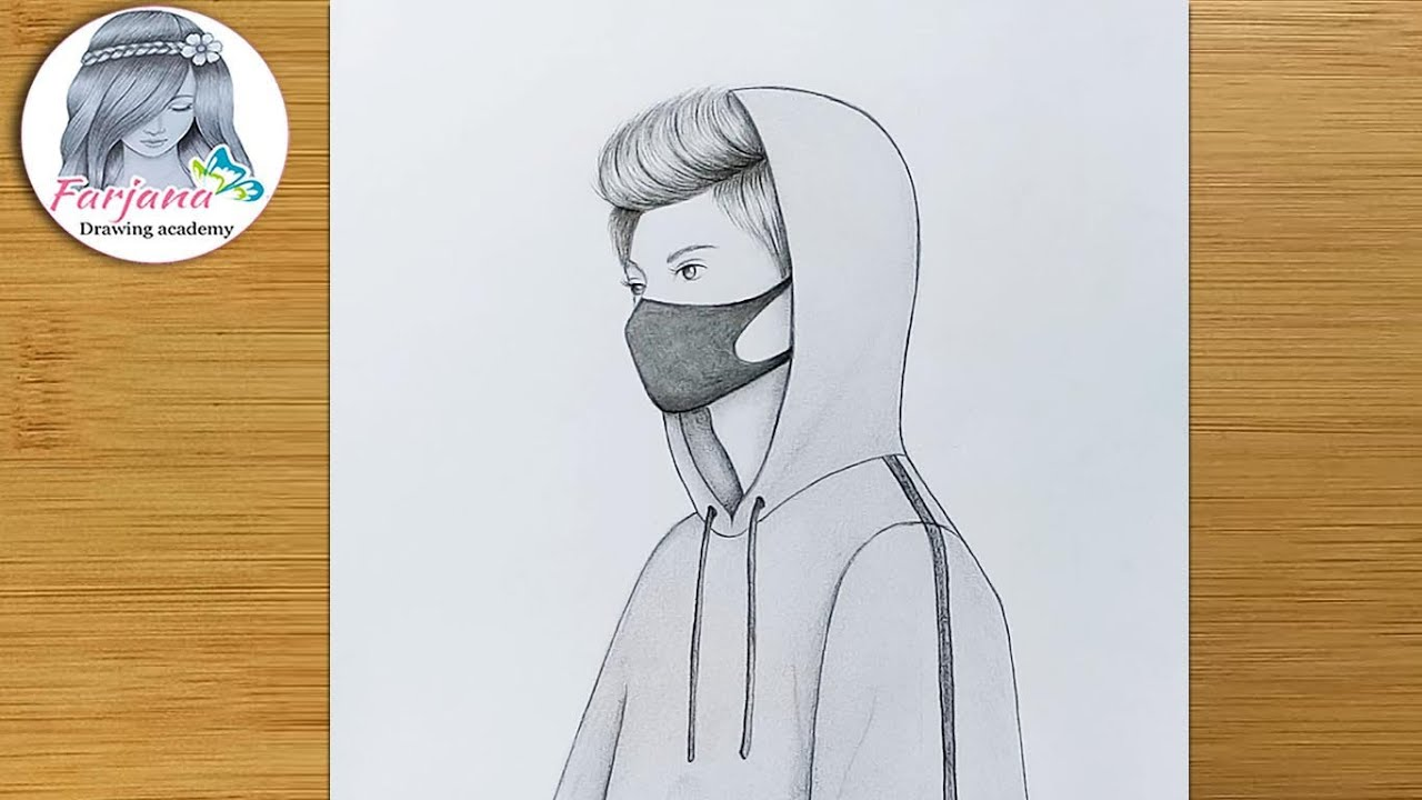 Easy way to draw A Boy with Mask || How to draw A Boy ...