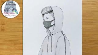 Easy way to dŗaw A Boy with Mask    How to draw A Boy - Pencil sketch    Kolay Maskeli Erkek Çizimi