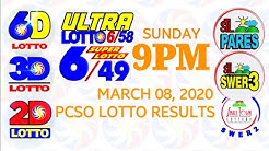 Lotto Result March 8 2020 (Sunday), 6/49, 6/58, 3D Lotto, 2D Lotto, STL | PCSO