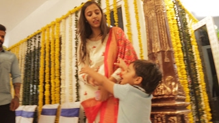 Jr NTR Son Abhay Ram Making Fun With His Mom Pranathi @ #NTR27 Opening | TFPC