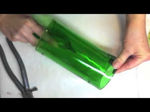 how to cut a glass bottle in half lengthwise
