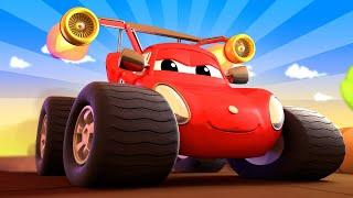 Monster trucks for children - Max the Monster FIRETRUCK Needs Help to Build a RACE Circuit!