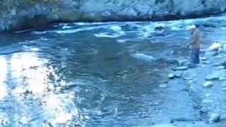Алтай. Отдых в Чемале. Река Катунь. Рыбак надеется поймать хариуса