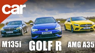 VW Golf R Mk8 vs Mercedes-AMG A35 vs BMW M135i | Who makes the best hot-hatch?