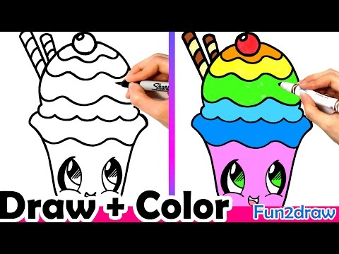 How to Draw a Rainbow Sundae Cute + Easy