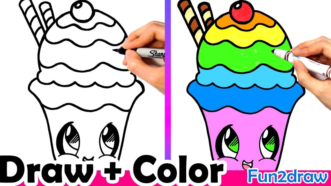 How To Draw A Rainbow Sundae Cute Easy YouTube