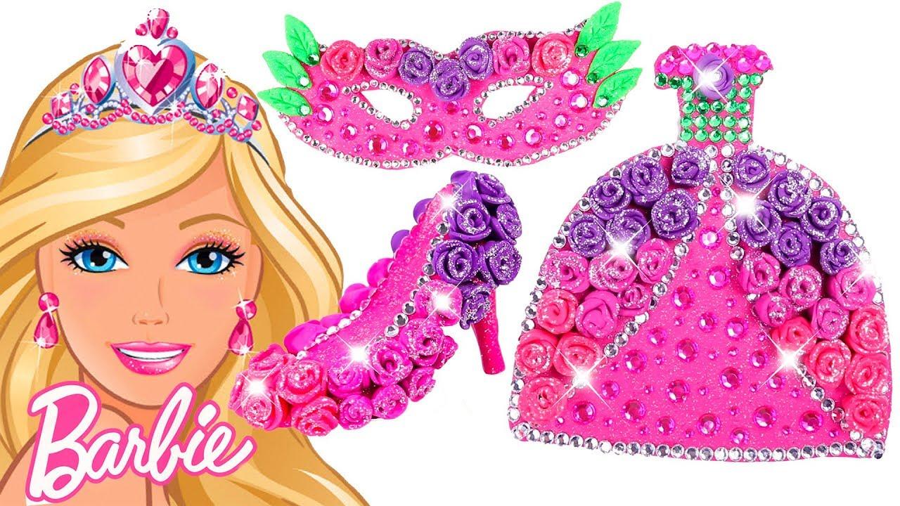 Play Doh Sparkle Barbie Disney Princess Shoes High Heels Dress Mask