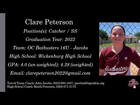 Clare Peterson Softball Skills Video -  2022 Catcher SS